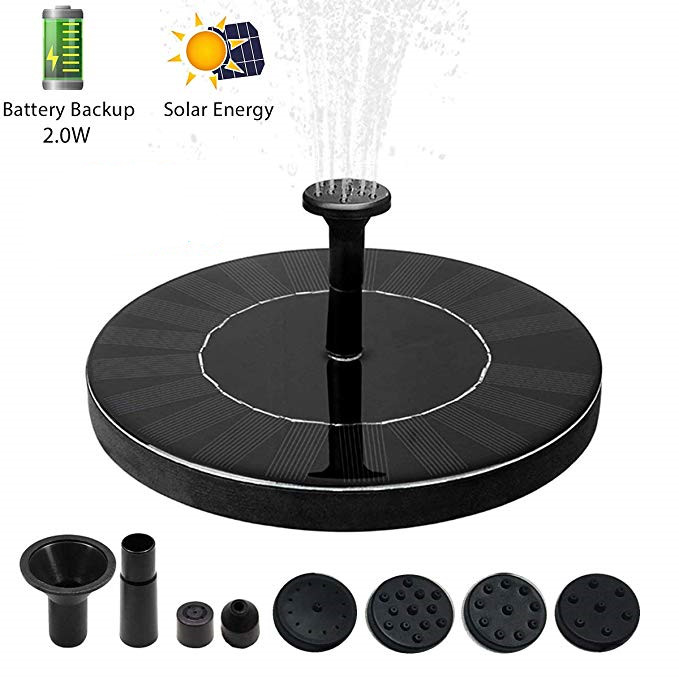 10V 2W Round Shape Solar Powered Water Fountain for Garden Decor 18x18x3.8cm DC30S-0708FR battery