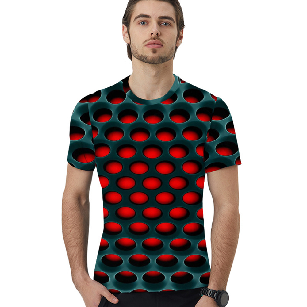 Summer 3D Honeycomb Digital Printing Loose Short Sleeve T-Shirt for Couples Honeycomb T_XXL