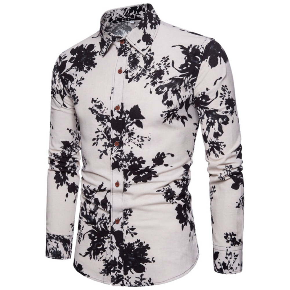 Single-breasted Shirt of Long Sleeves and Turn-down Collar Floral Printed Top for Man CS24 black_L