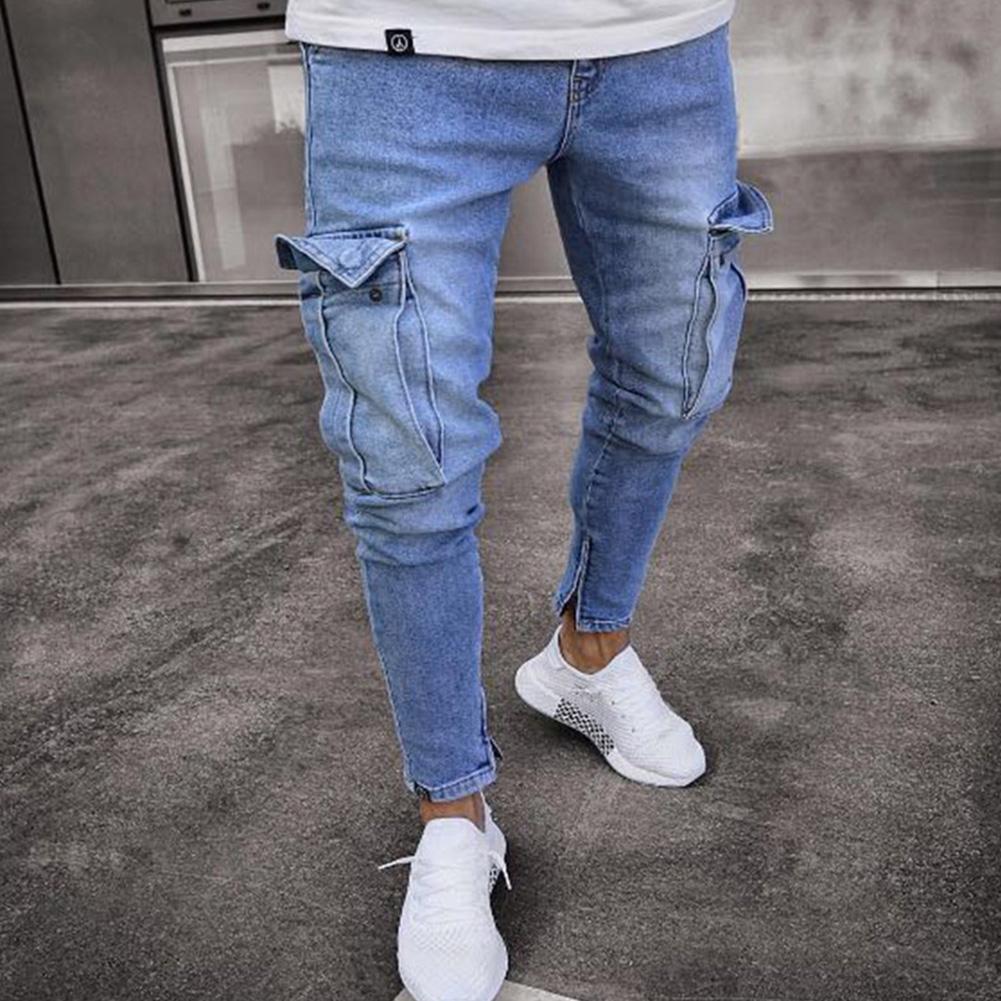 Men Women Fashion Elastic Zipper Broken Hole Jeans Pencil Pants Light blue_L