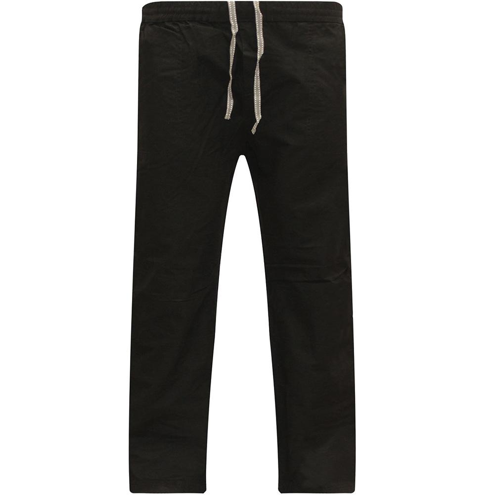 Men Cotton Loose Pants Drawstring Yoga Elastic Waist Straight Trousers black_XXL