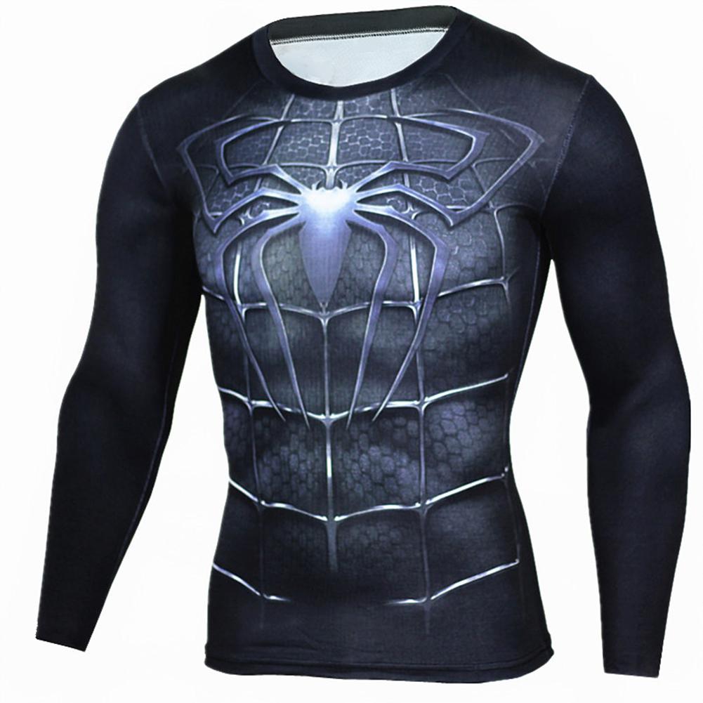Fitness Compression Shirt Men Anime Printing Bodybuilding Long Sleeve Crossfit 3D Superman Punisher T Shirt  black spider_XXL