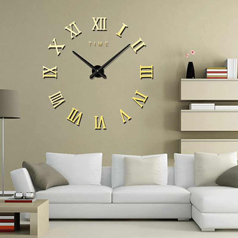 Fashionable Roman Numeral Wall Clock DIY Wall Ornament Home Office Hotel Decoration Gift  Light Gold