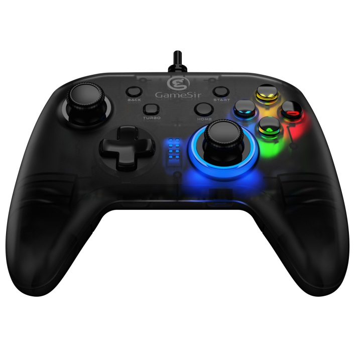 1 GameSir T4C Gamepad Controller Colorful LED Wireless Joystick for PS3/Switch/PC Windows Game black