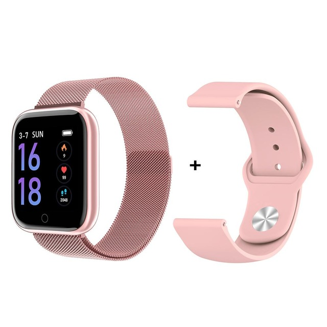 P70 Smart Watch Blood Pressure Measurement Heart Rate Monitor Fitness Bracelet Watch Women Men Smartwatch Support IOS Android Pink