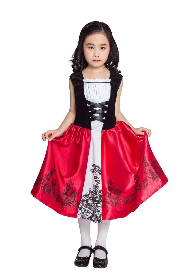Kids Oktoberfest Festival Printing Dress + Hooded Cape Halloween Costumes red_L