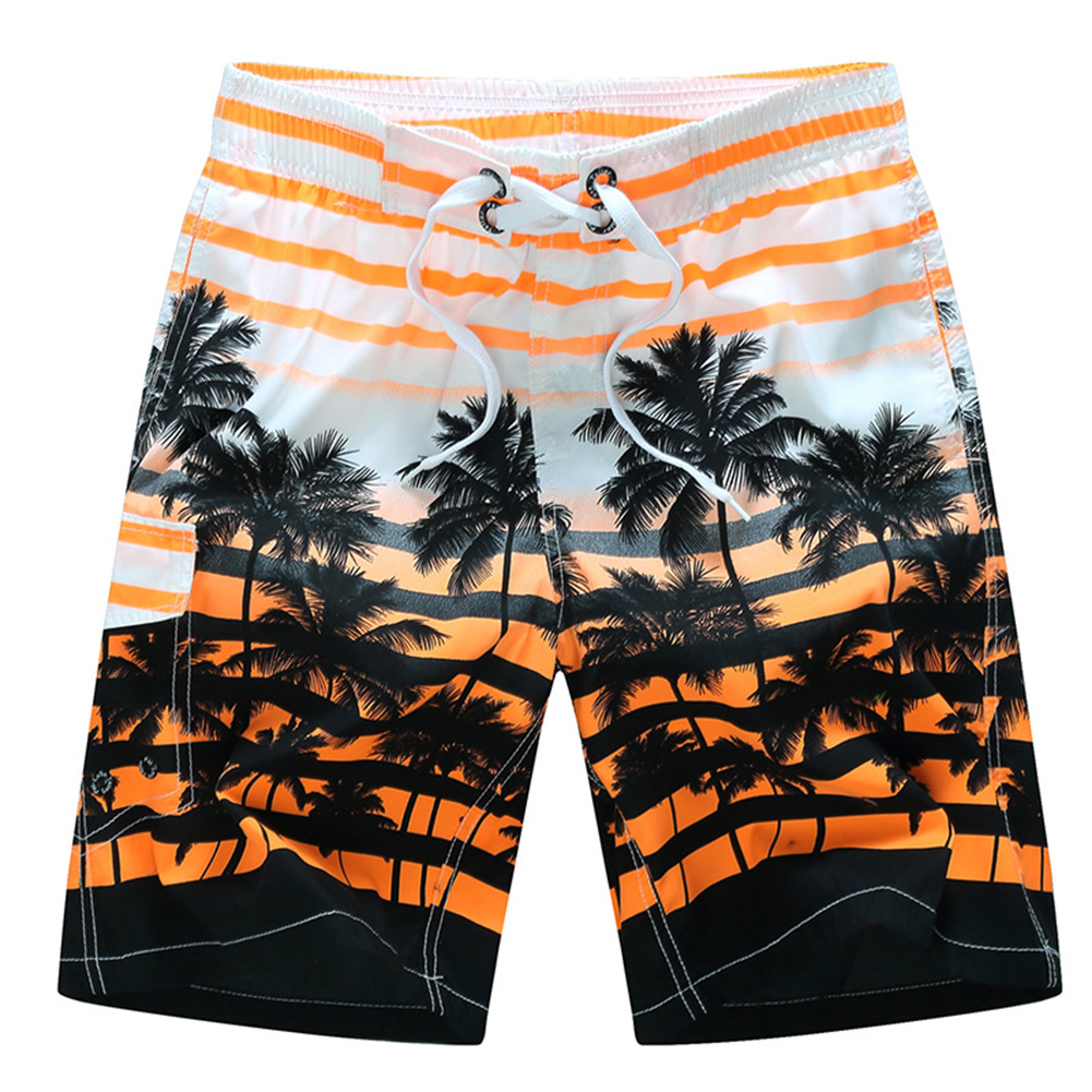 Men Fashion Coconut Tree Printed Quick Dry Beach Pants  Orange_L