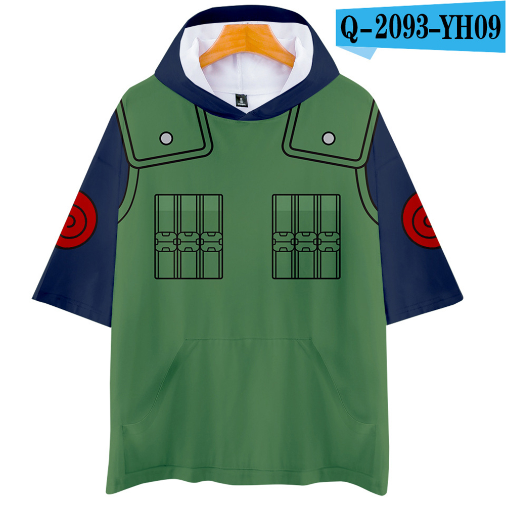 Unisex Fashion Naruto Cosplay Digital Print 3D Hooded Tops Short-sleeved T-shirt  Q-2093-YH09 green_XXL