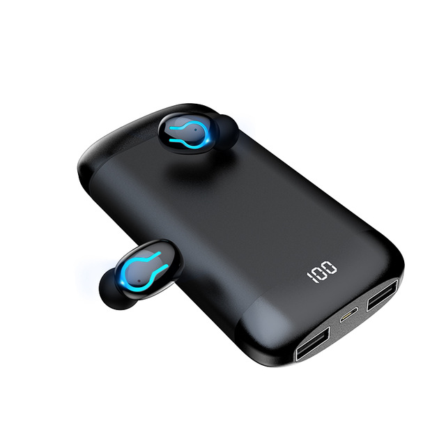 Q66 TWS Bluetooth Earphones HD Stereo Headphone Noise Reduction Sports Headset Built-in Mic with 6000mAh Charging Case Mobile Power Bank black