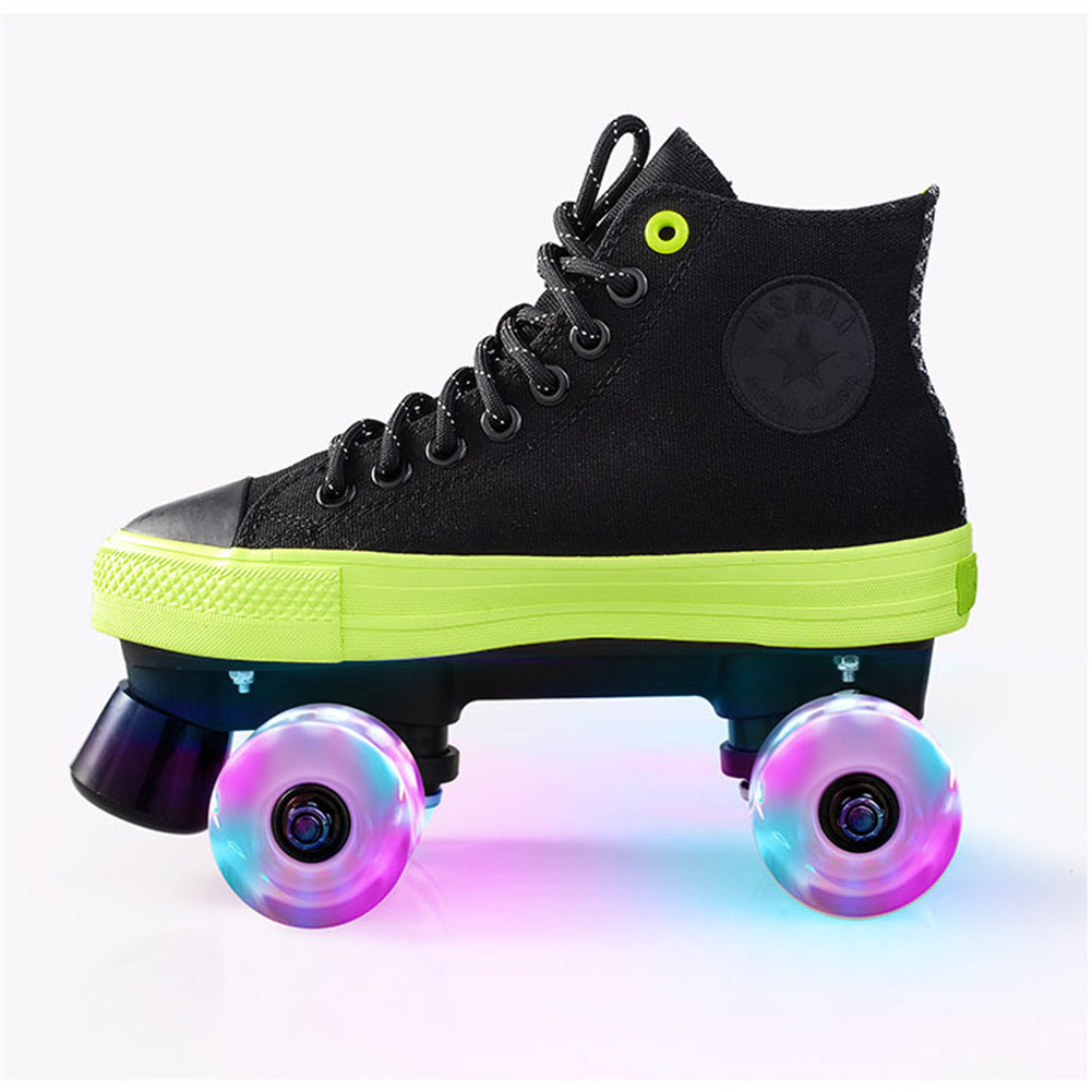 1pair Roller  Skates  Shoes For Beginner Two Line Canvas Sliding Sneakers With 4 Wheels Black + flashing wheel_39