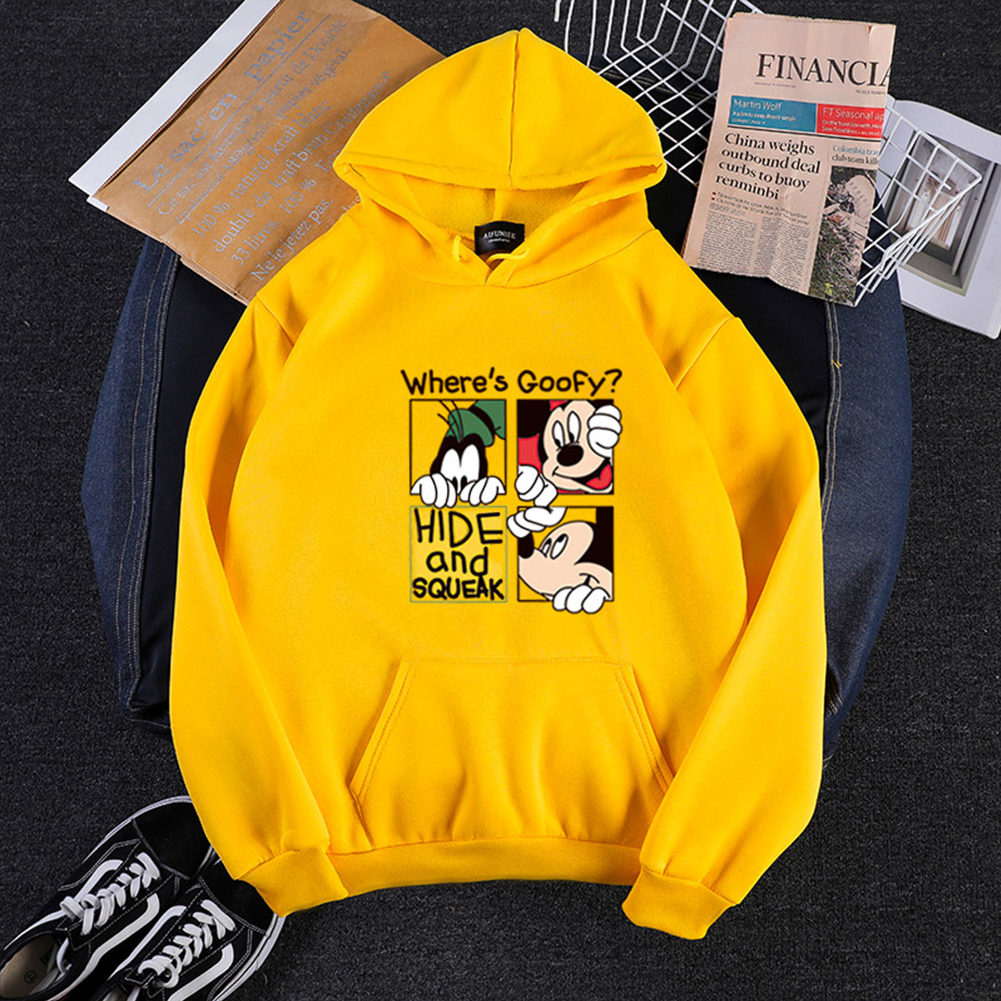 Men Women Hoodie Sweatshirt Cartoon Micky Mouse Thicken Autumn Winter Loose Pullover Yellow_XXL