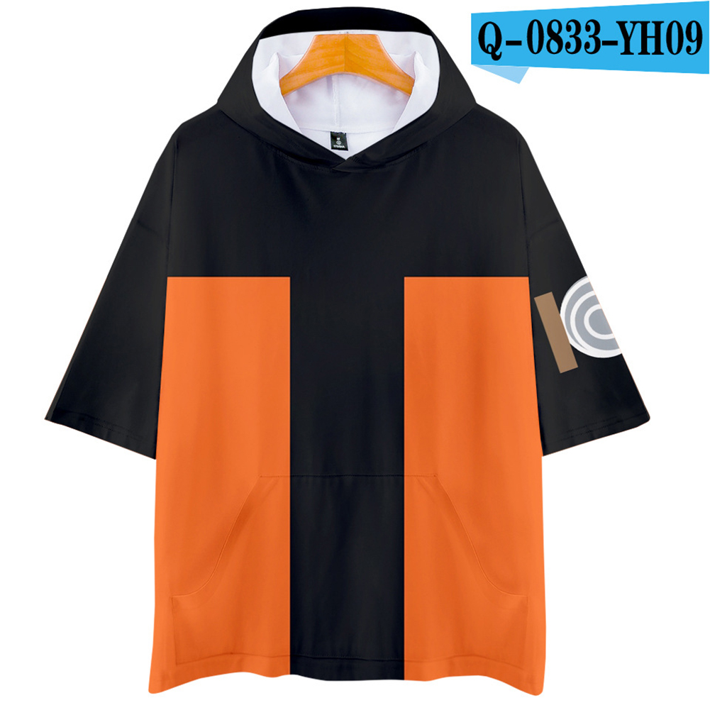 Unisex Fashion Naruto Cosplay Digital Print 3D Hooded Tops Short-sleeved T-shirt  Q-0833-YH09 Orange_S