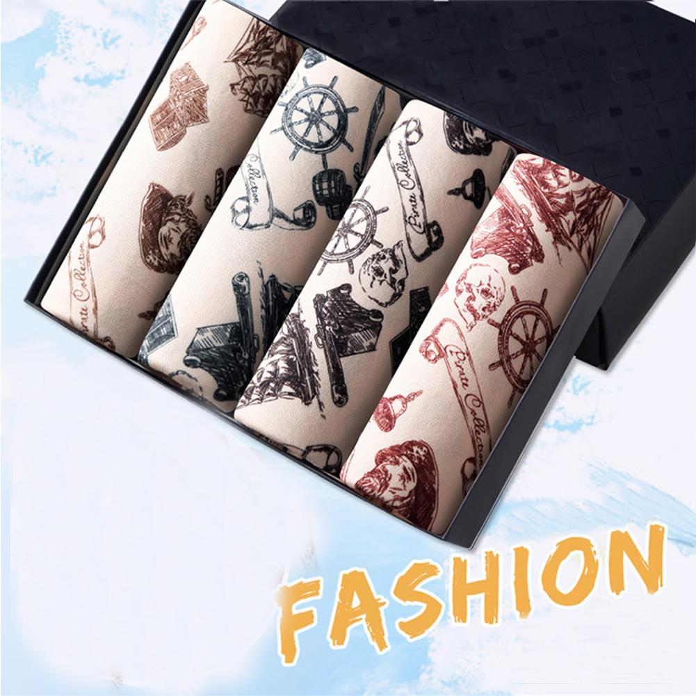 4pcs/set Men Stylish Printing Breathable Soft Boxers with U Convex Design Pirate Captain_XXL