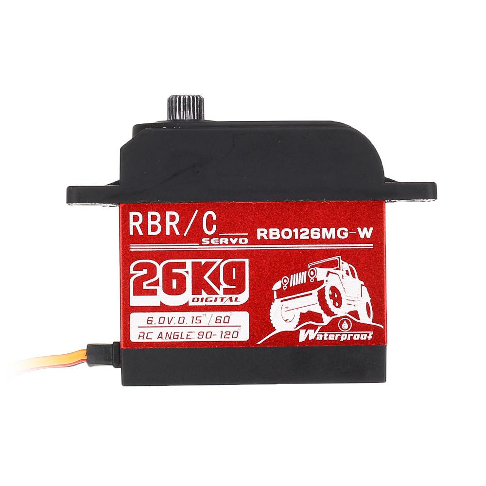 RBR/C RB0126MG 26KG 90° 120° Large Torque Digital Metal Gear Waterproof Servo For 1/8/10 Crawler RC Car Boat Vehicle Robot Models waterproof