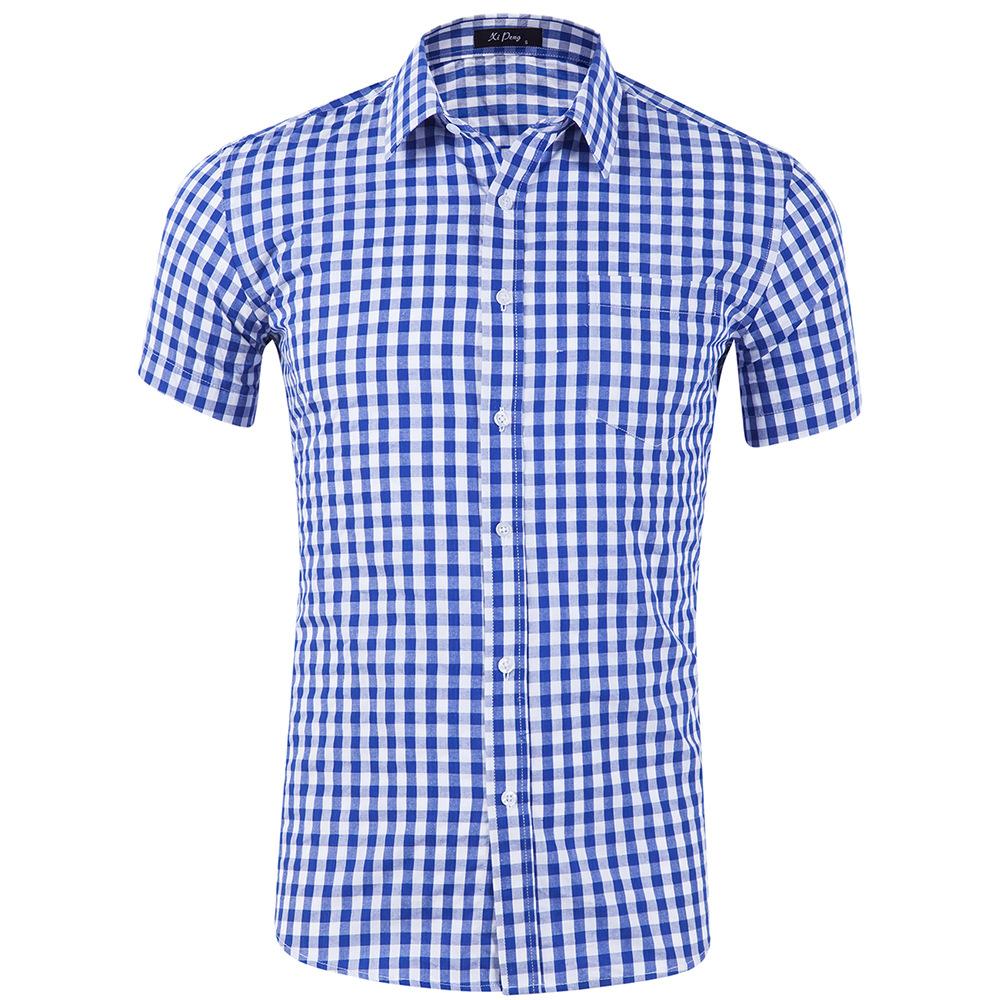 Men Plaid Short Sleeve Shirts Solid Color Cotton Lapel Collar Casual Tops