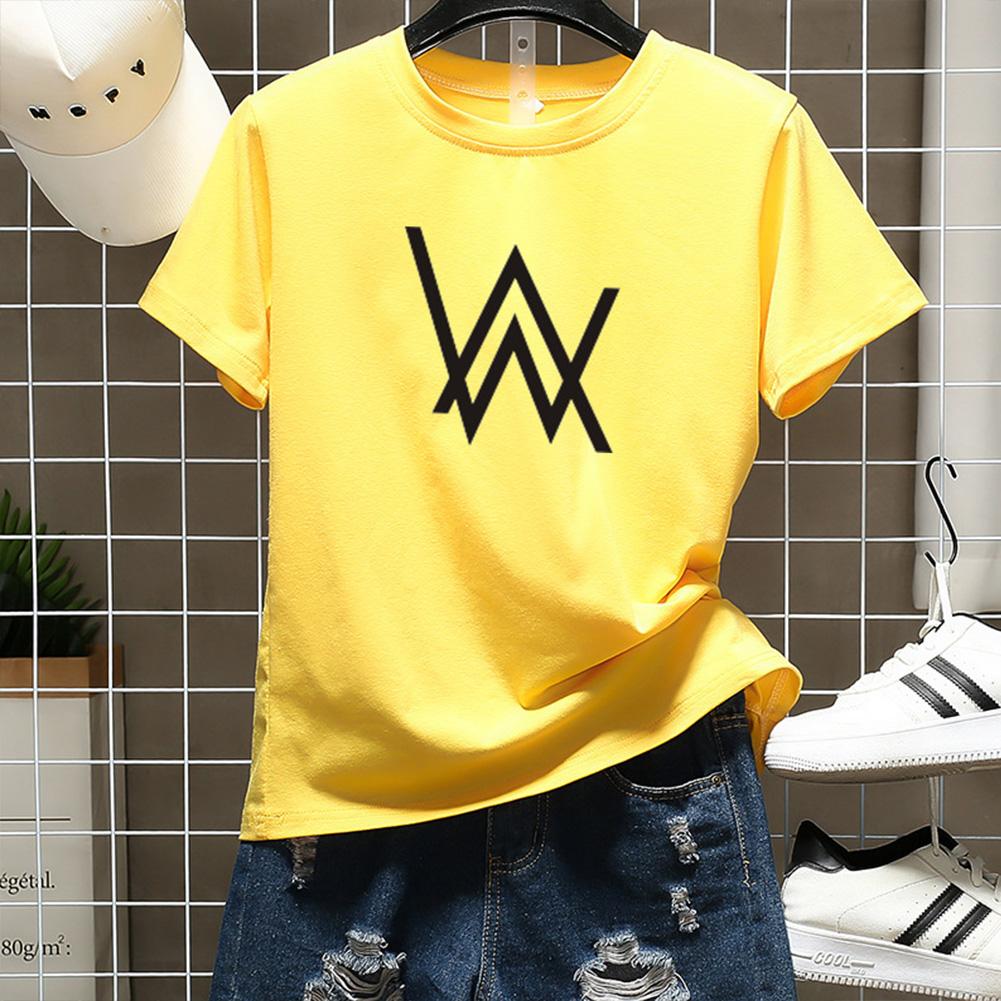 Men Women Couple Fashion Letter Printing Round Neck Short Sleeve T-Shirt  yellow_XXL