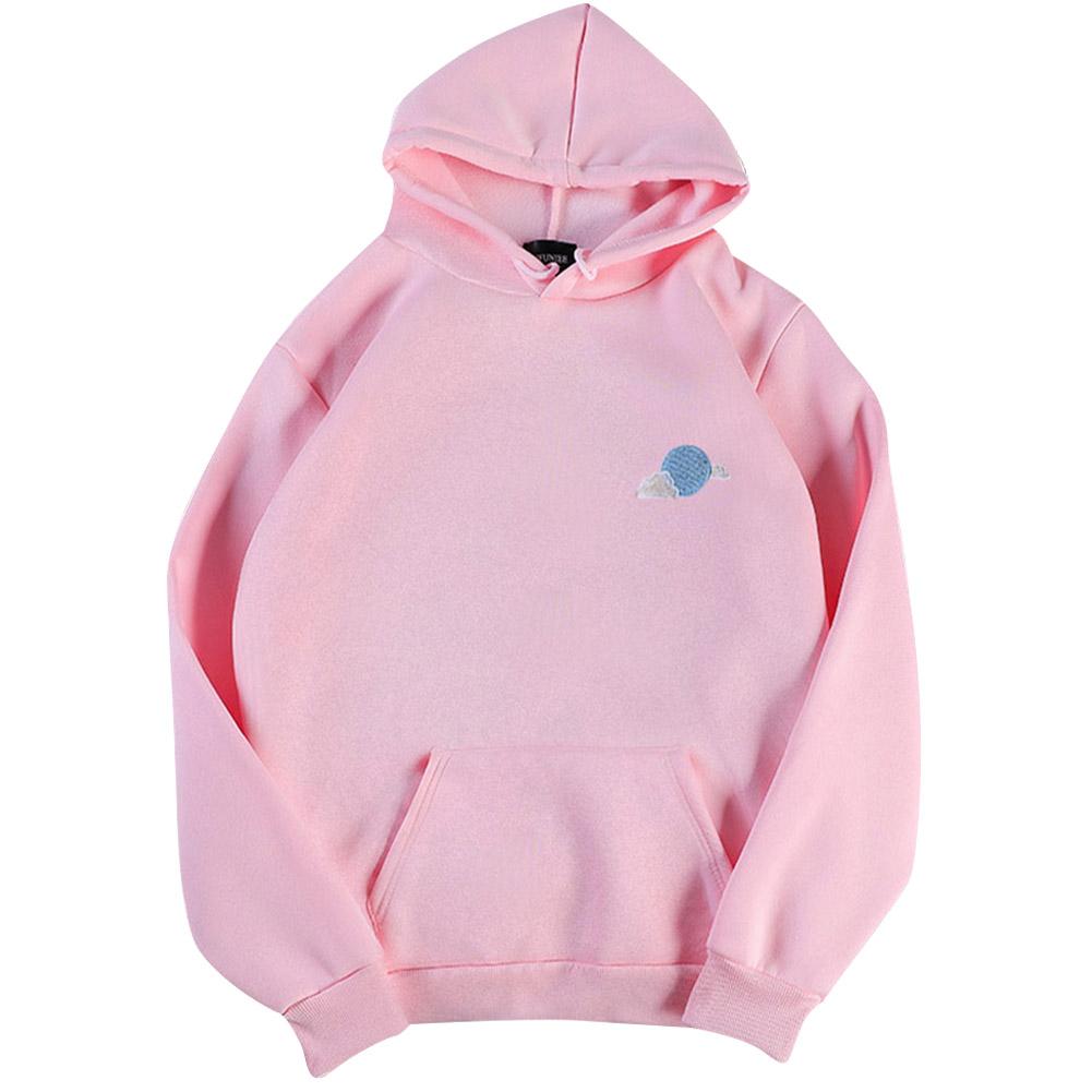 Men Women Hoodie Sweatshirt Thicken Velvet Cloud Loose Autumn Winter Pullover Tops Pink_L