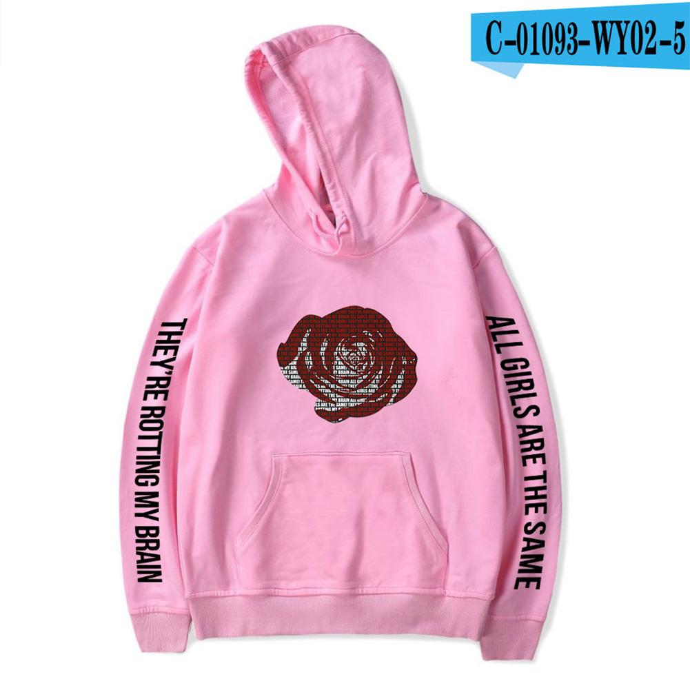 Men Women Hoodie Sweatshirt Juice WRLD Printing Letter Loose Autumn Winter Pullover Tops Pink_L