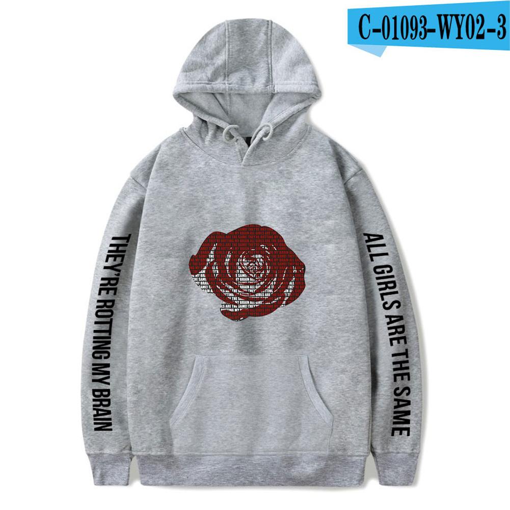Men Women Hoodie Sweatshirt Juice WRLD Flower Letter Printing Unisex Loose Pullover Tops Grey_M