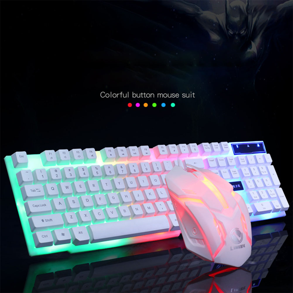 Wired USB PC Gamer Suspension Mechanical Feel Keyboard + Mouse Set Photoelectric Laptop Computer Backlit Keyboard Set white