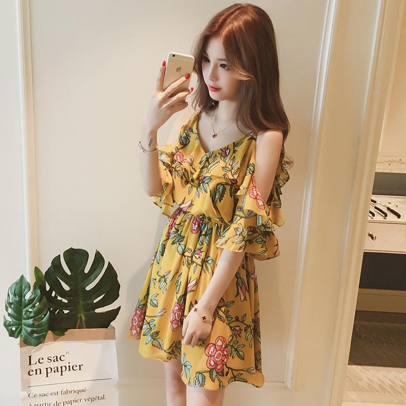 Women Summer Sling Dress Sexy V Collar Floral Dress for Beach Vacation yellow_XL