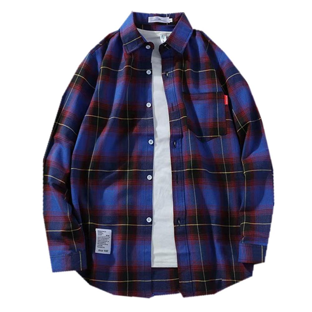 Men's Shirt Casual Long-sleeved Lapel Plaid Pattern Slim Shirt Purple _L