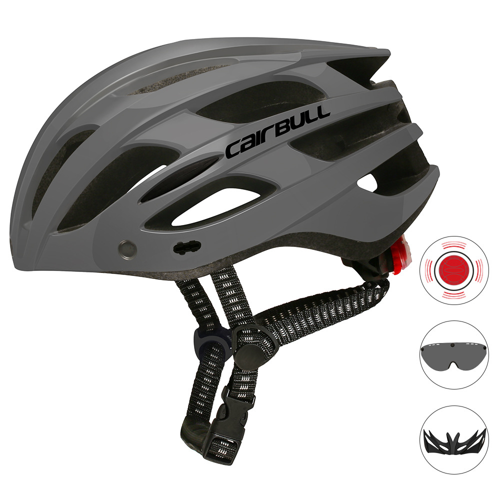 Road Mountain Bike Riding Helmets with Light Men And Women Outdoor Cycling Accessories Deep gray_M/L (55-61CM)