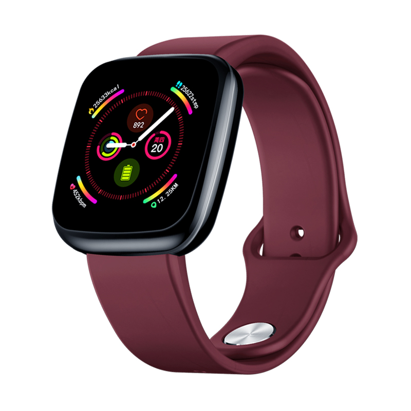 Smart Watch Silicone Full Touch Color Screen Heart Rate Blood Pressure Monitoring Smart Watch red