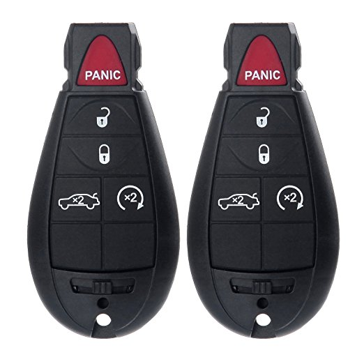 2pcs Remote Key Fob Uncut 5 Button Key Replacement for Dodge M3N5WY783X, 267F-5WY783X