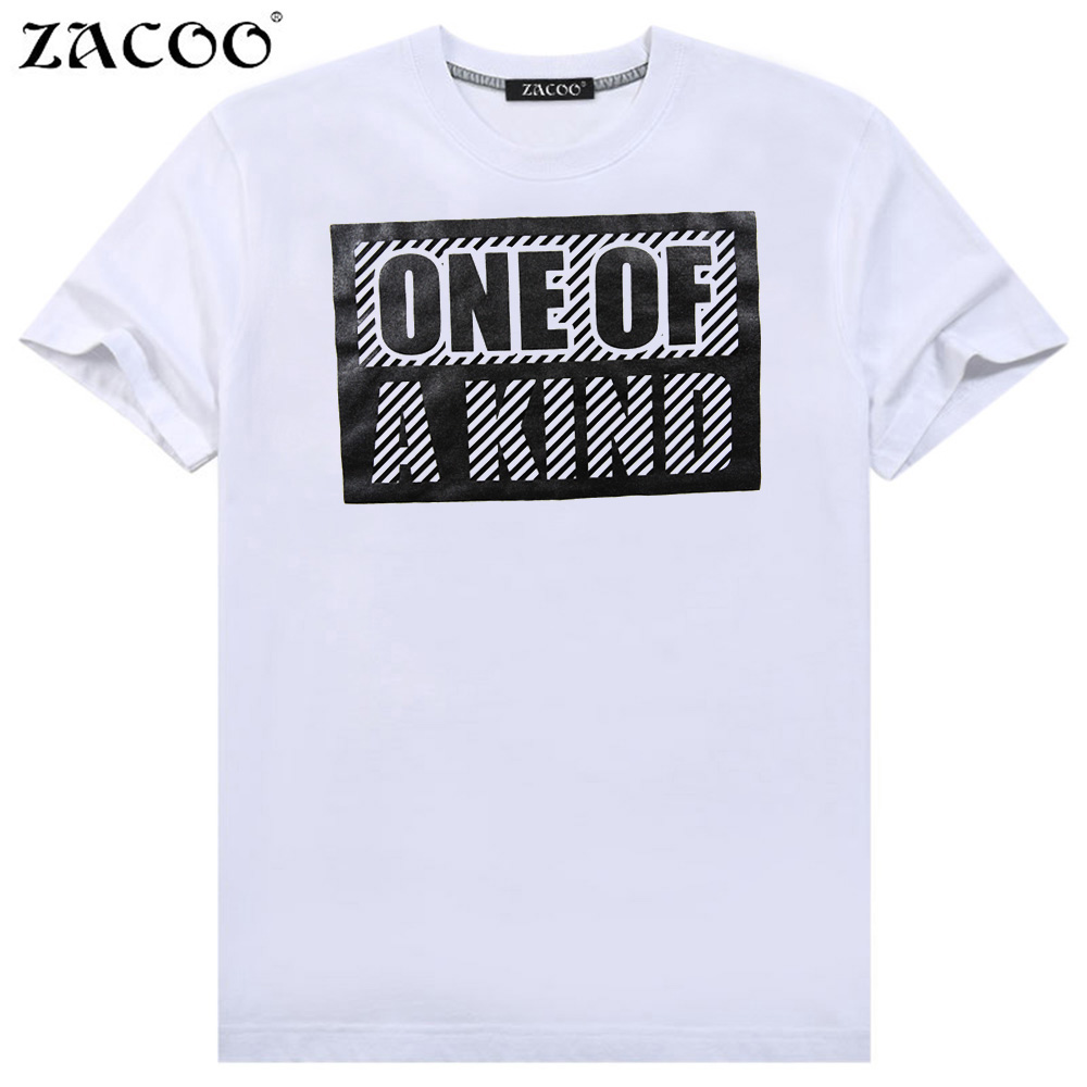 ZACOO Men's Summer Letters Printing Crew Neck Short Sleeve Pullover Pure Cotton T-shirt