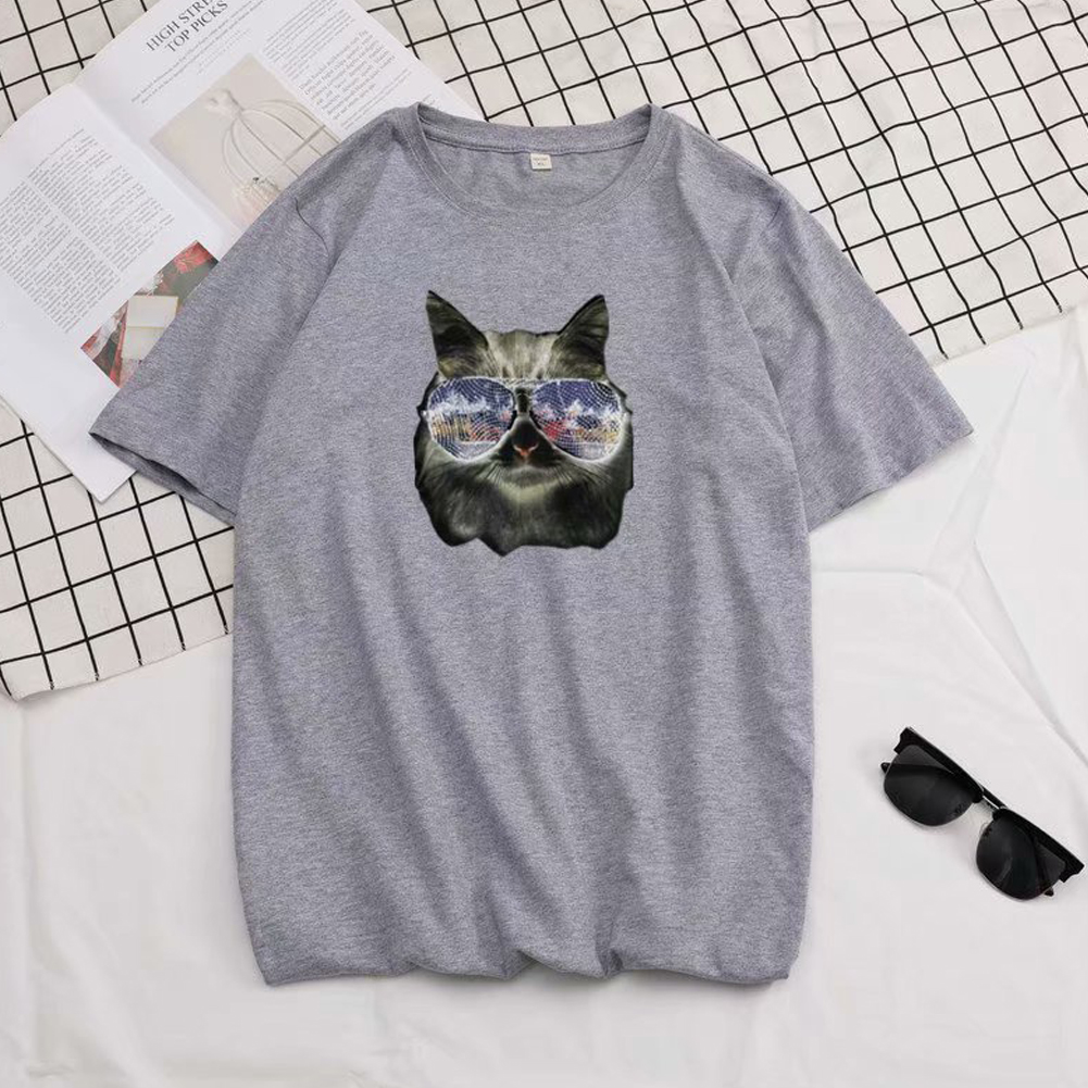 Short Sleeves and Round Neck Shirt Leisure Pullover Top with Animal Pattern Decorated 6105 gray_L