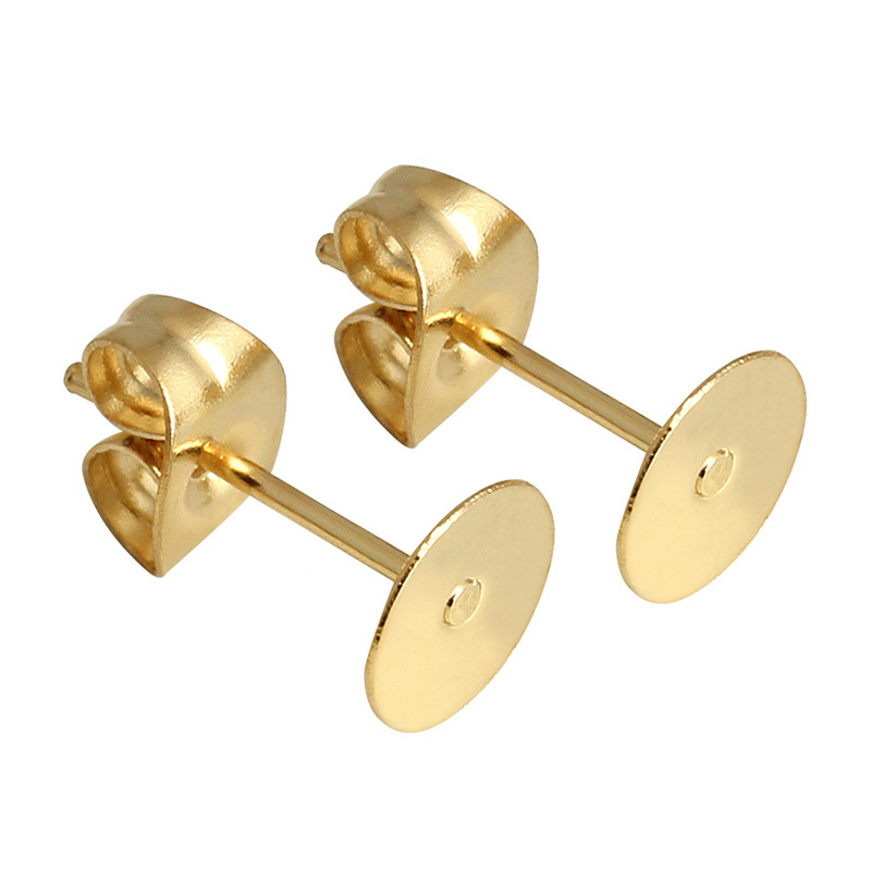 50pcs/set Metal Ear Stud Earrings Set Flat Round Stud Earplugs Kit DIY Jewelry Accessories Gold needle + ear plug