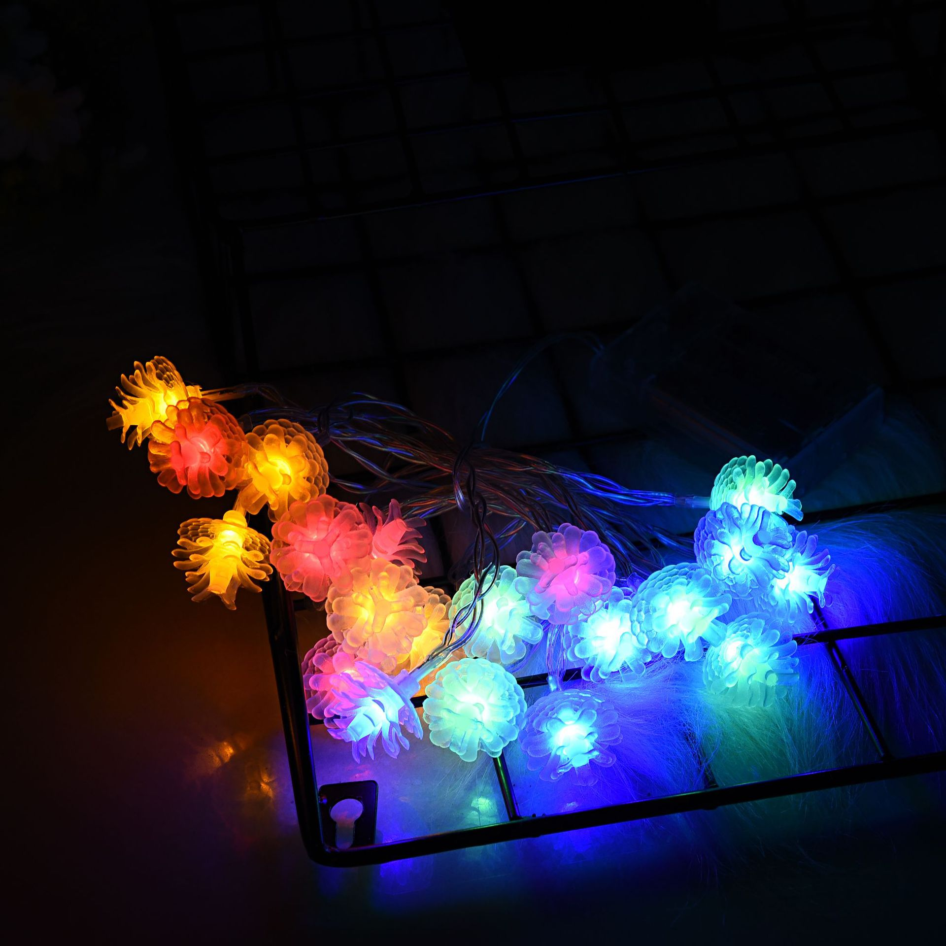 LED Pine String Light Battery Powered Christmas Lamp Holiday Party Wedding Decorative Fairy Lights With flashing color 3 meters 20 lights battery
