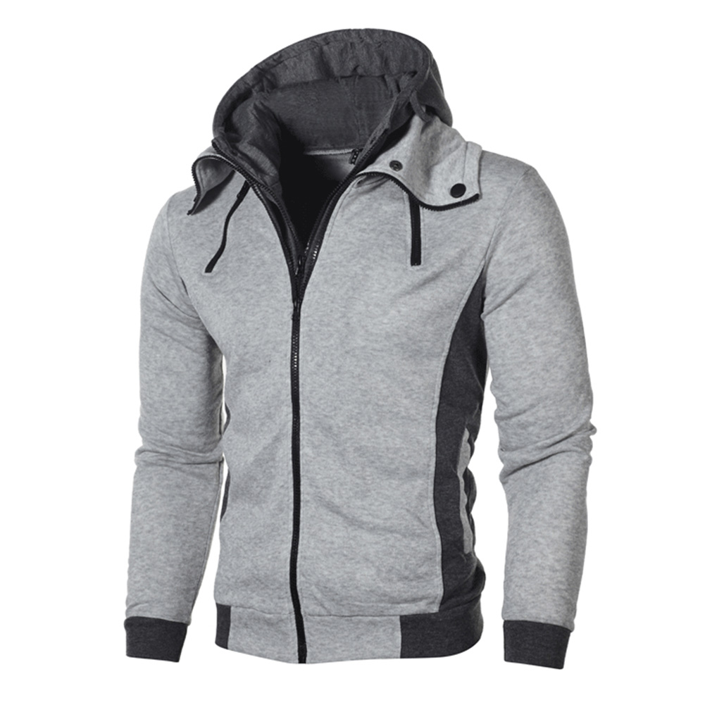 Men Fashion Double Zipper Hooded Sweatshirt Long-Sleeve Casual Coat Tops for Winter Autumn Light gray_L