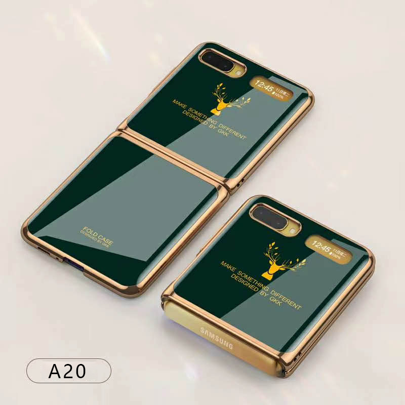 For Samsung Galaxy Z flip Foldable Cellphone Shell Electroplated Painted Folding Phone Case A20 emerald