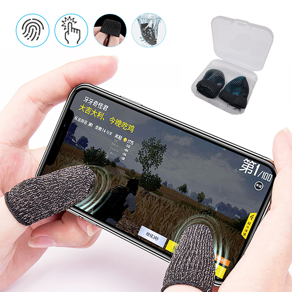 1 Pair L1 R1 Breathable Mobile Game Controller Finger Sleeve Touch Trigger For Fortnite PUBG black_Style 2