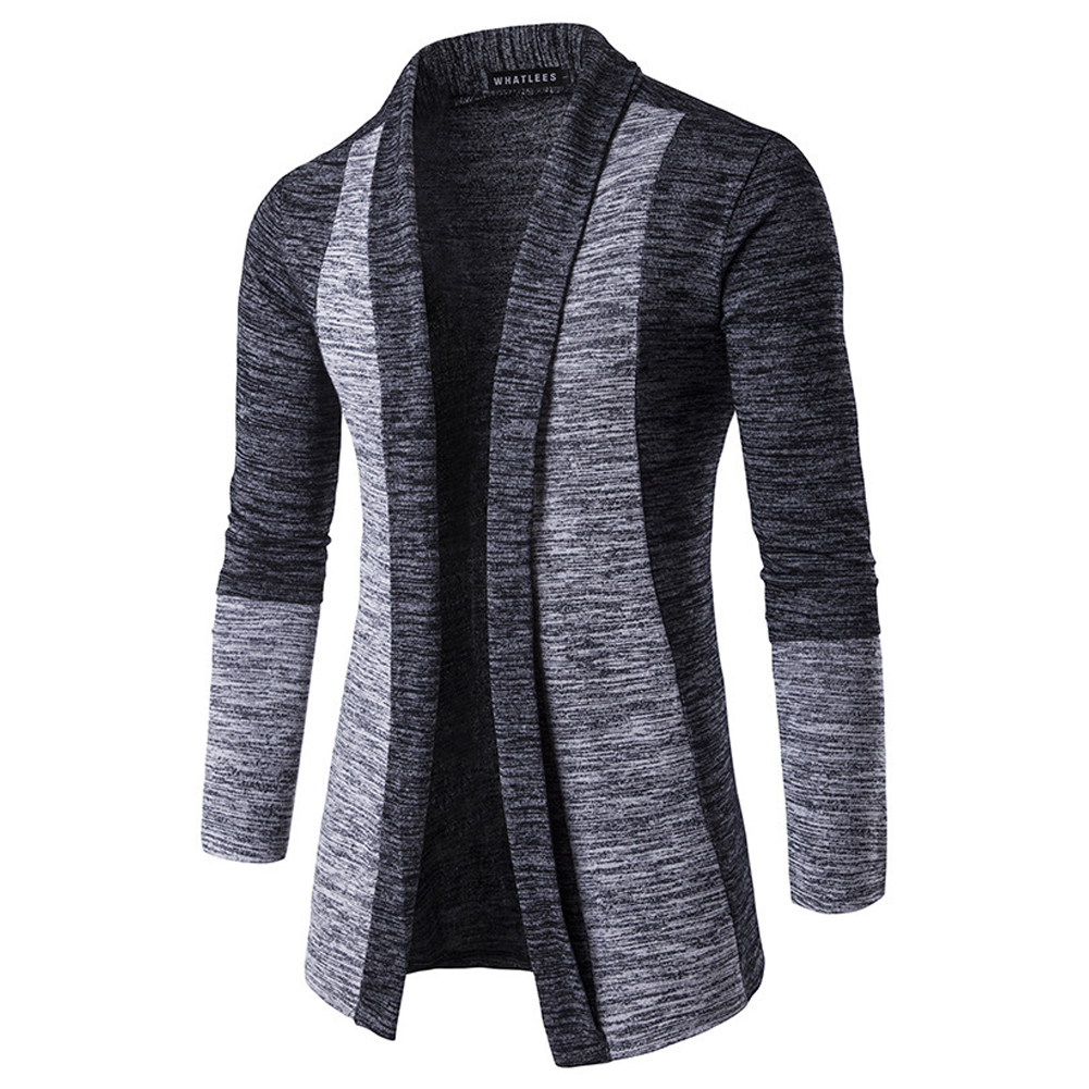 Long Sleeve Knitted Sweater Shawl Ruffle Collar Long Length Cape Coat Cardigan for Man Dark gray_XXL