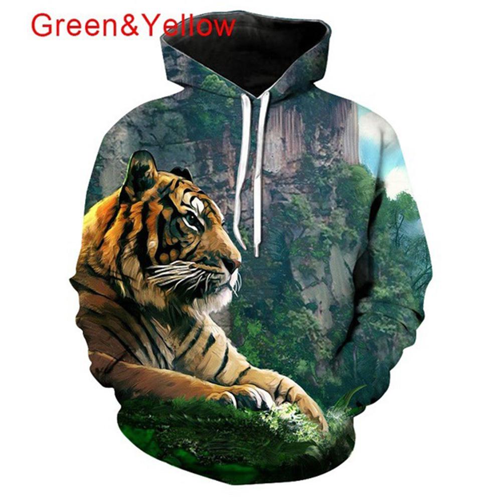 Men Women Lovers 3D Climbing Tiger Printing Hooded Sweatshirts Autumn Winter Creeper_L