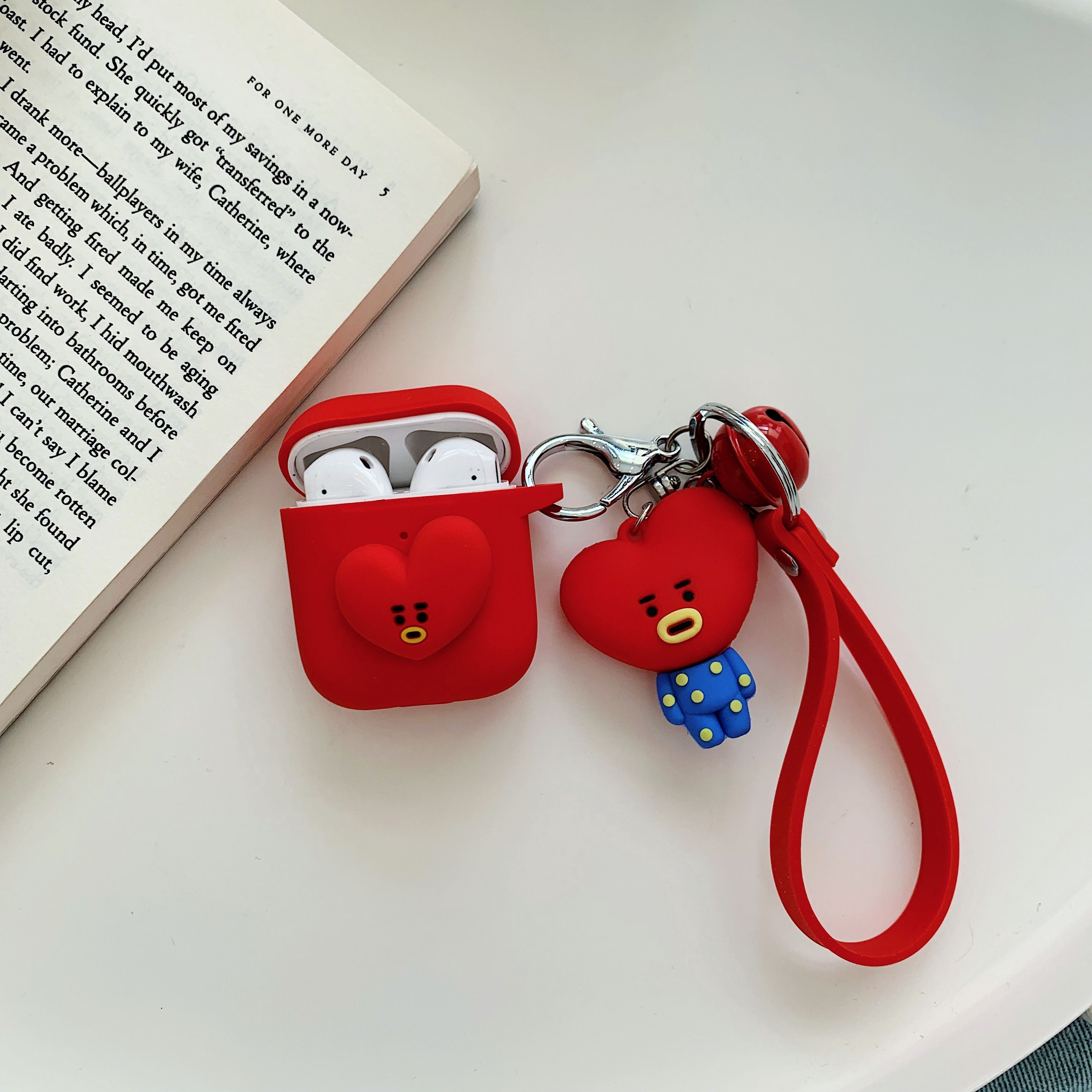 Cartoon Animal Doll Keychain for Apple Airpods Case Accessories Protective Cover red