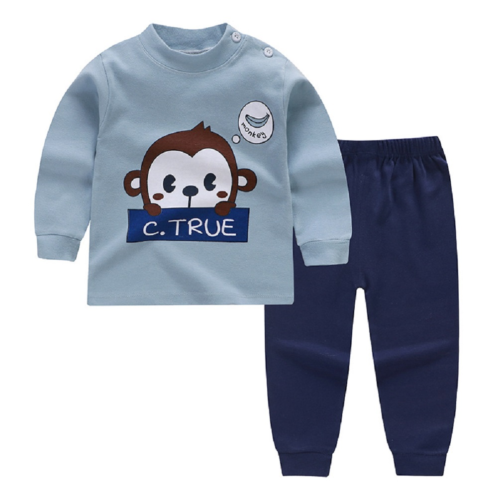 [Indonesia Direct] 2pcs/set Children Homewear Suit Cotton Boys and Girls Long Sleeves Top  Trousers Suit  Monkey_80CM