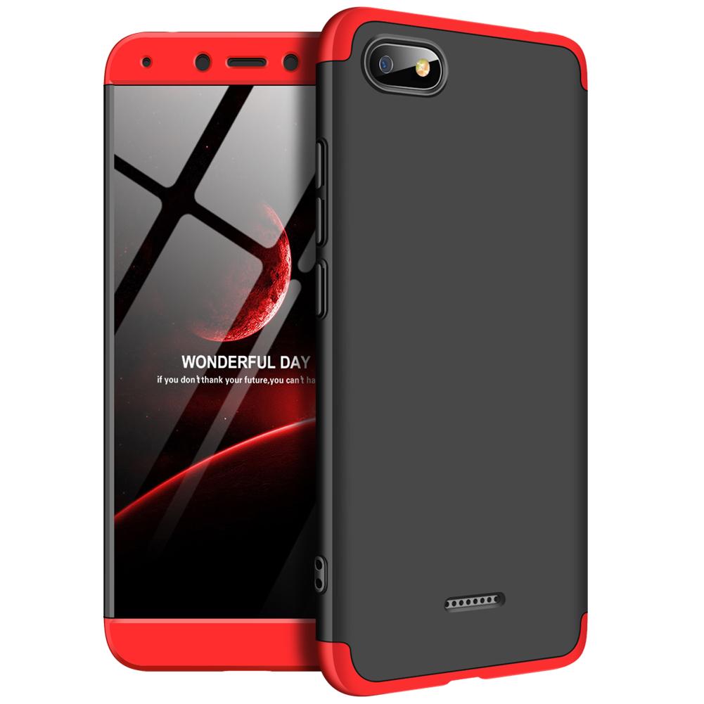 [Indonesia Direct] For XIAOMI Redmi 6A Ultra Slim PC Back Cover Non-slip Shockproof 360 Degree Full Protective Case Red black red_XIAOMI Redmi 6A