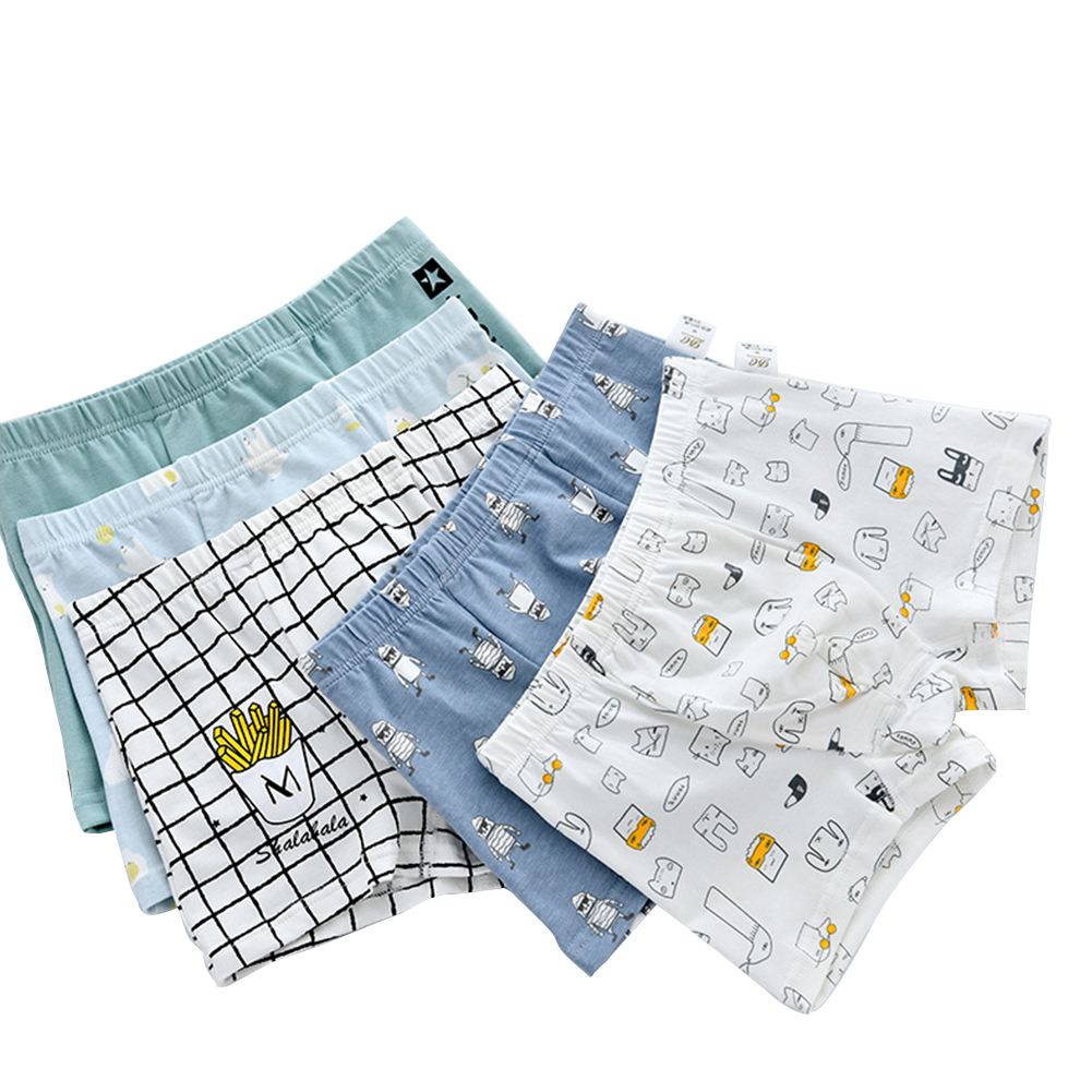 5 Pcs/set Boys Underpants Cotton Cartoon Boxer Shorts for 3-14 Years Old Kids 5_XXL