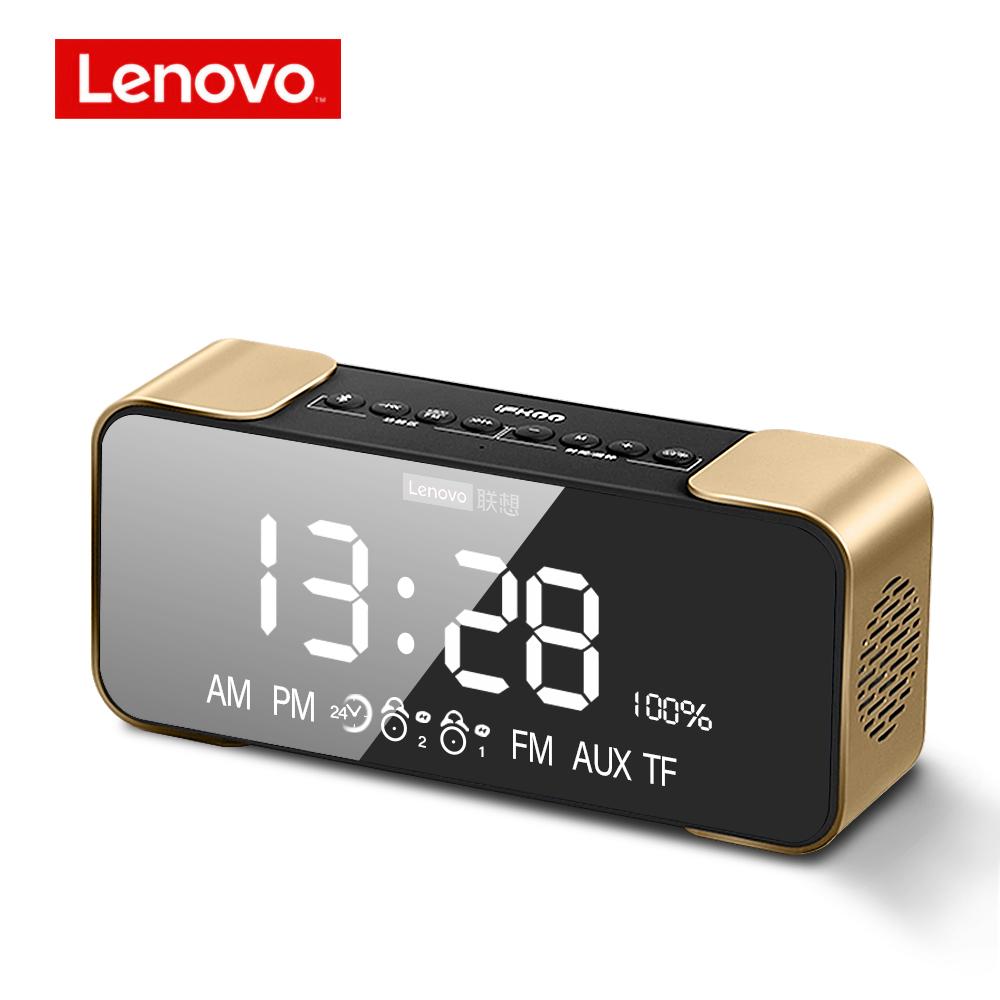 Lenovo  L022 Portable Bluetooth Wireless Speaker Led  Alarm Clock Tf Card Fm Wireless Loudspeaker Gold