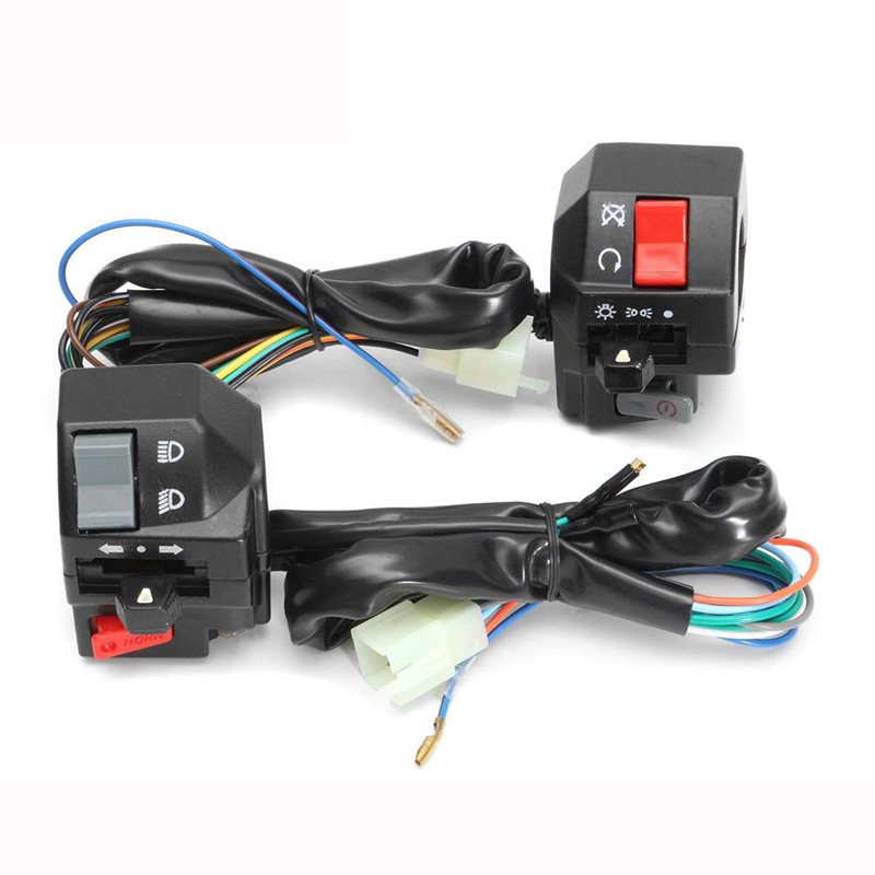 Motorcycle Switches 22mm Handle Bar Left Right Switches Horn Turn Signal Headlight Electric Start Handlebar Controller Switch black