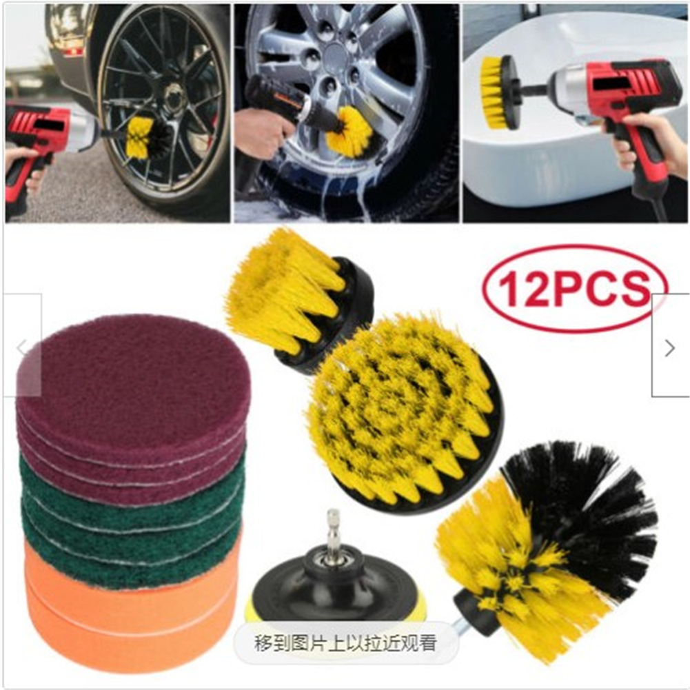 12pcs/set Power Scrubber Cleaning Kit  Drill Brush Scrubbing Pad For Carpet Tile Grout Cleaning 12pcs