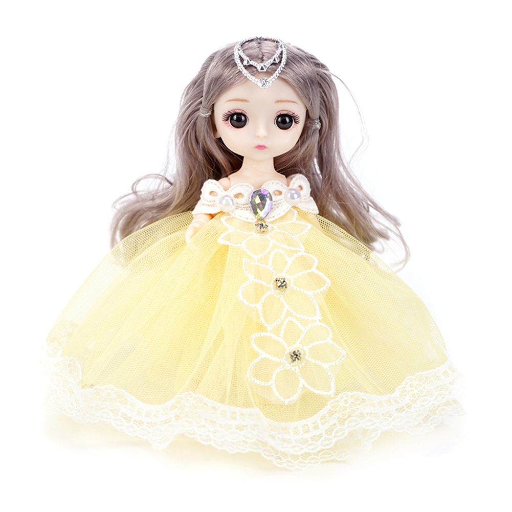 18cm Bjd Joint  Doll Cute Style Clothes Simulation Princess Dress Up Toy For Kids Yellow