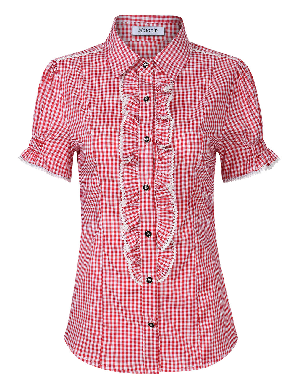 [EU Direct] Women's Beer Festival Plaid Pleated Short Sleeve Casual Shirt for Oktoberfest