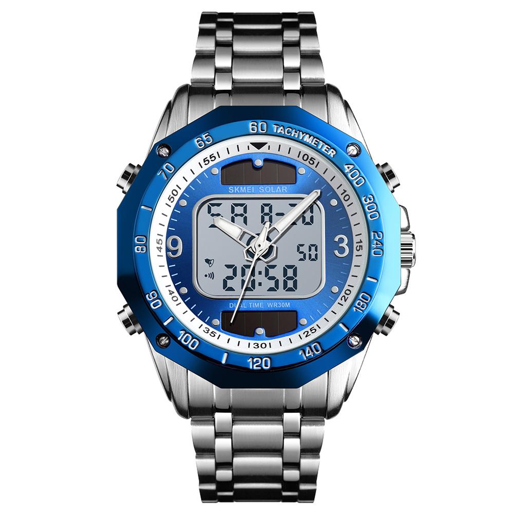 Original SKMEI Men Solar Quartz Digital Watch Dual Time Date Week Waterproof EL Light Alarm Sports Wristwatch Silver blue
