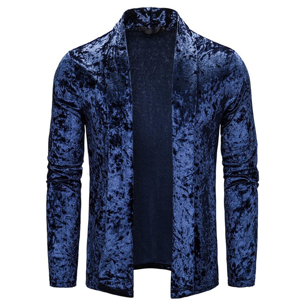 Men's Jacket Basic Fit Type Long-sleeve Lapel Mid-length Cardigan Navy _XL