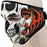 [EU Direct] Urparcel 2 In 1 Reversible Windproof Black Tribal Classic Skull Neoprene Half Face Mask Facemask Headwear Motorcycle ATV Biker Bike Cycling
